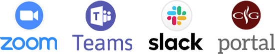 Zoom, Teams, slack and Coffee Group Portal
